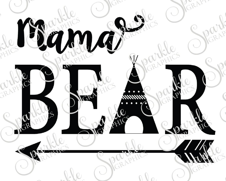 Mama Bear Mama Baby Family Bear Family Bear Svg Aztec Teepee
