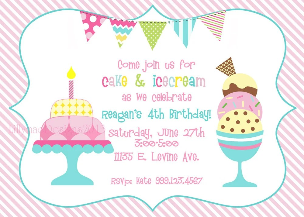 Cake And Ice Cream Birthday Party Invitation Digital File