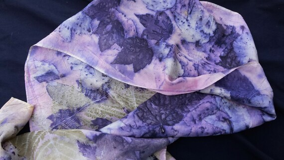 "Silk Scarf, ECO-printed with fall leaves in all natural colors, by artist, totally organic & renewable, 8"" x 54"" FREE ship USA"