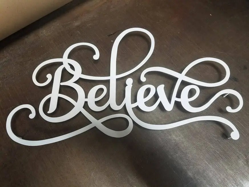 Believe Metal Word Art Sign Metal Wall Art Metal Decor