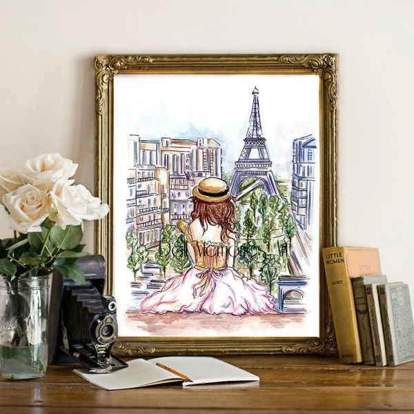 Paris Girl Girly Art Wall Fashion Illustration