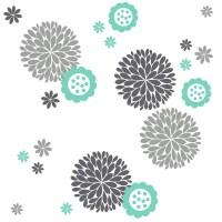 Fun Flower & Dahlia's Vinyl Wall Decal Package Flower
