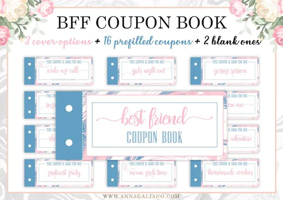Best Friends Gift Printable Coupons Coupon Book Birthday