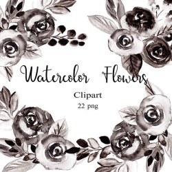 clip flower clipart watercolor roses flowers rose floral name etsy