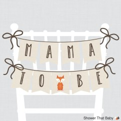 Baby Shower Chair Decorations Swivel Chairs For Sale Woodland Banner Mama To Be Mom