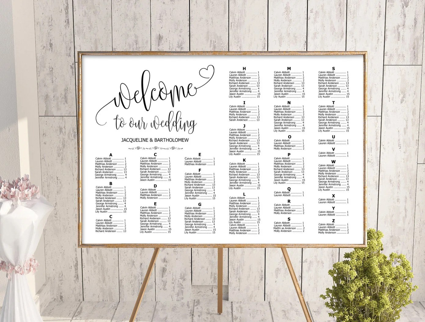 Wedding alphabetical seating chart template printable editable plan find your seat sign also rh etsy