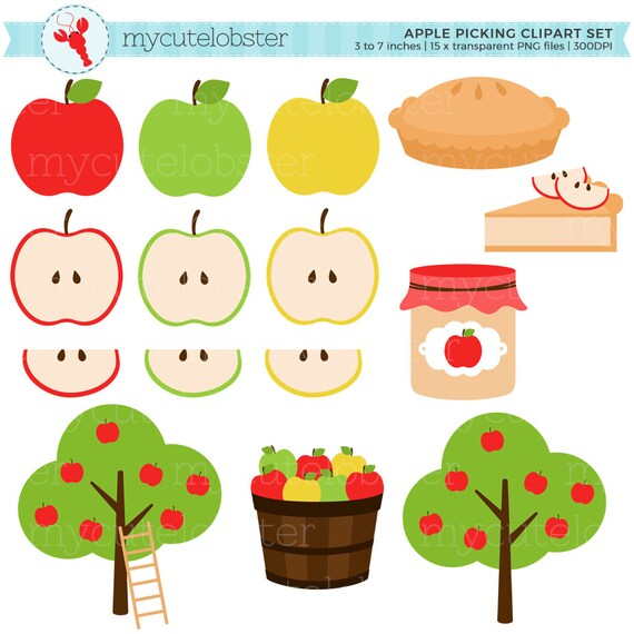 apple picking clipart set apples