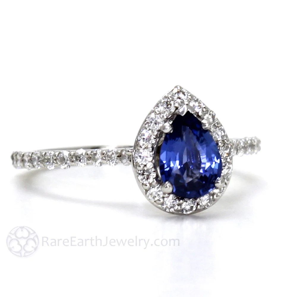 Blue Sapphire Engagement Ring Pear Diamond Halo