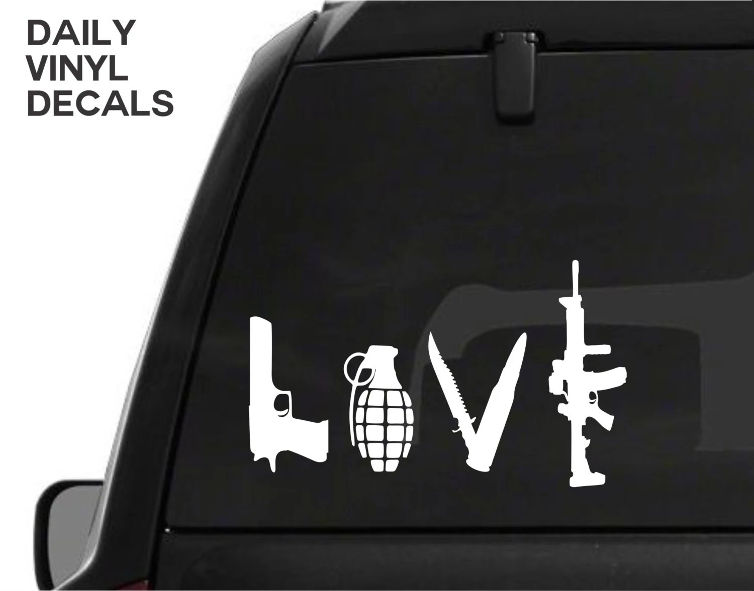 Gun Love Vinyl Decal Choose Size & Color Pistol Knife