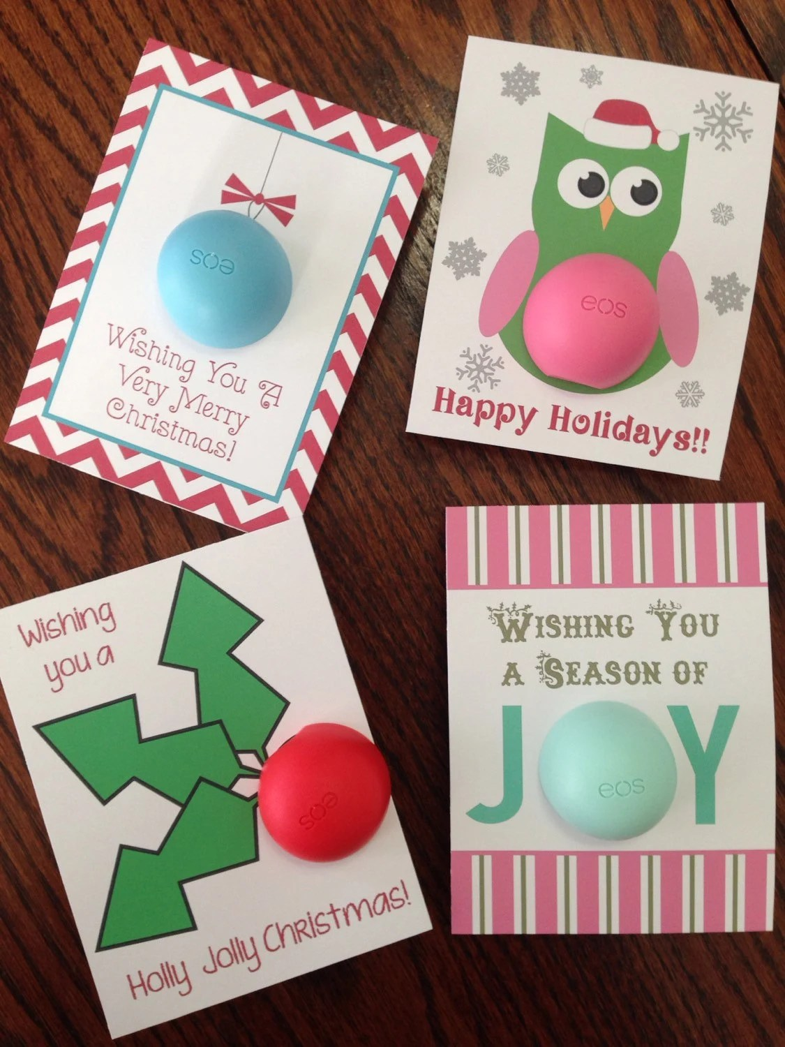 Holiday Christmas Cardsgift Tags For EOS Lip Balm