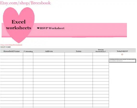 RSVP Spreadsheet. RSVP Form Rsvp Keeper Guest List Wedding