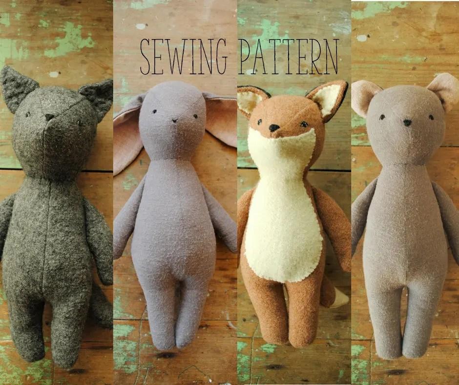 Bunny fox bear and wolf soft toy  stuffed animal doll PDF