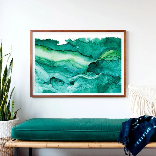Undercurrent Emerald Ink Framed Art Print Ocean Surf