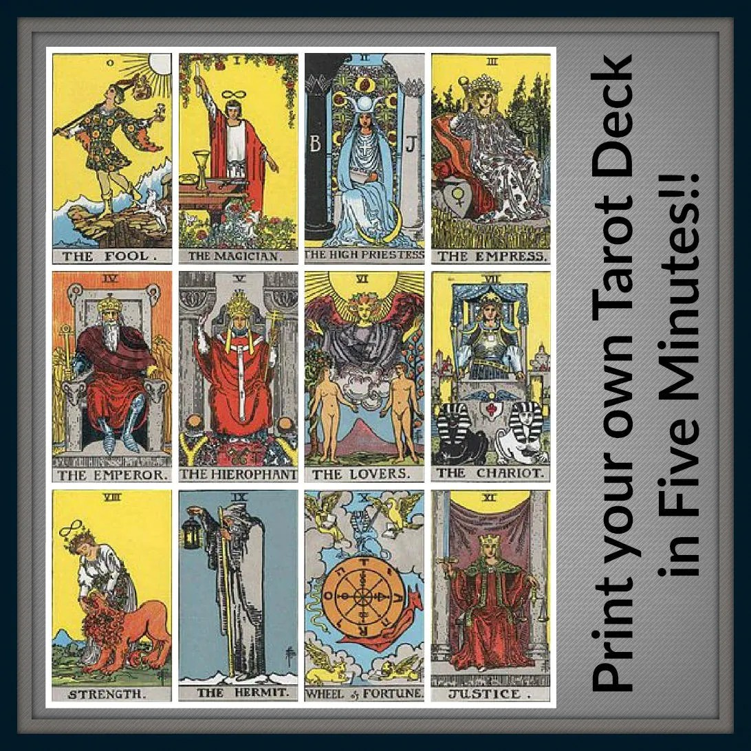 photo relating to Free Printable Tarot Cards called Miniature Printables Absolutely free Printable Tarot Playing cards - Yr of