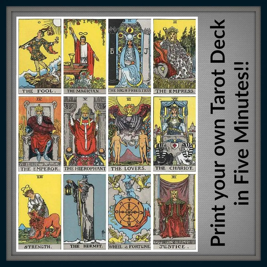 graphic about Free Printable Tarot Card Deck identified as Miniature Printables Absolutely free Printable Tarot Playing cards - Yr of