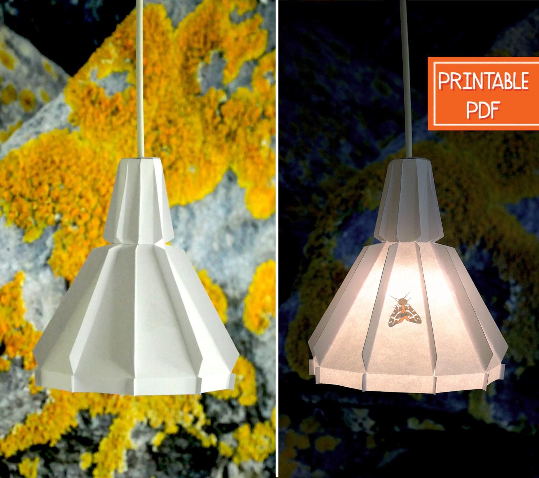 Paper Pendant Lamp Orange Moth Printable Diy Lamp