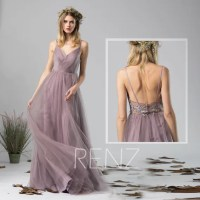 Bridesmaid Dress Dark Mauve Tulle Dress Wedding DressRuched V