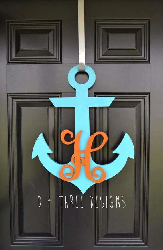 20 inch painted wooden anchor personalized monogram anchor decor nautical decor