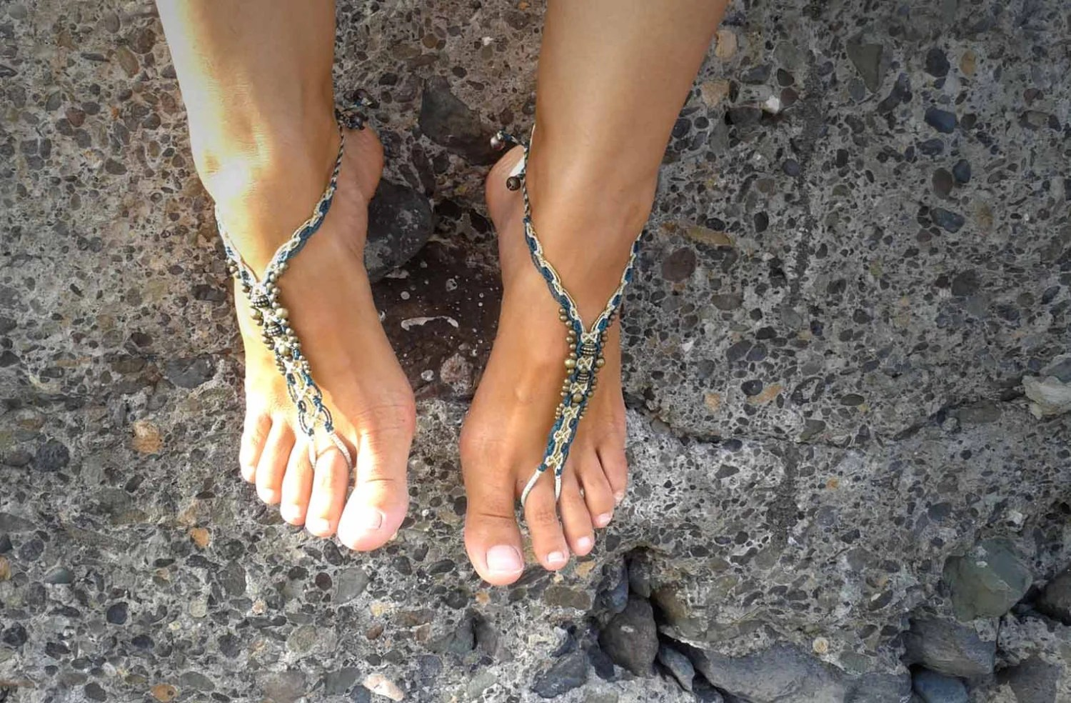 Macrame Barefoot Sandals With Antic Brass Gipsy Anklet