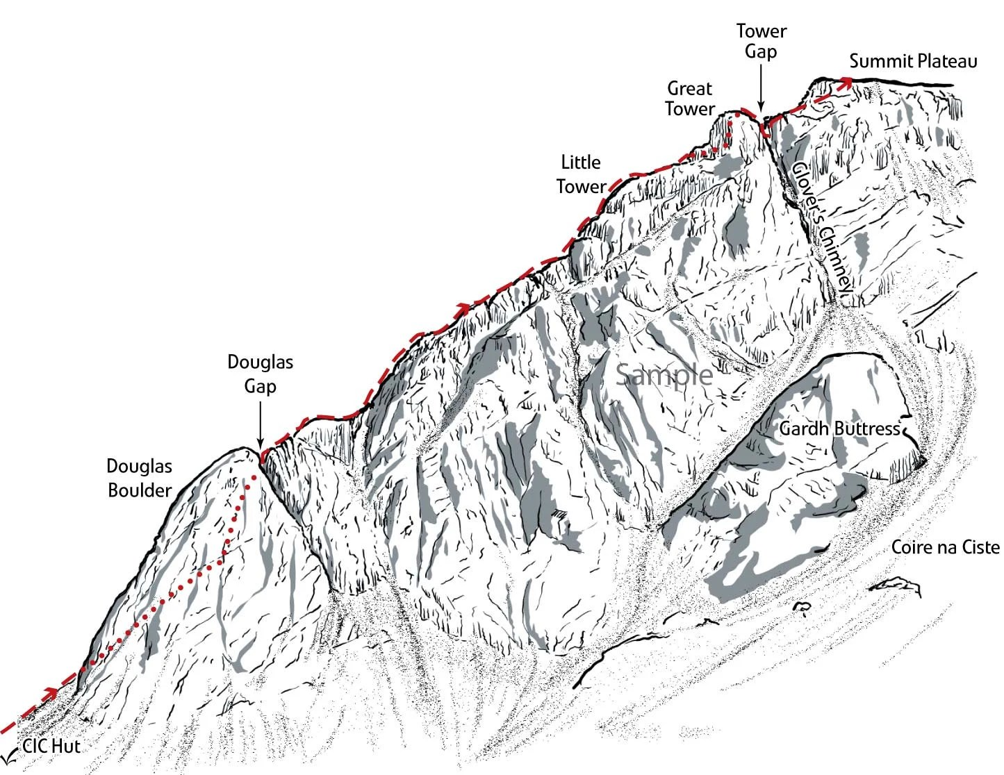 Line Illustration Showing The Route Up Tower Ridge On The