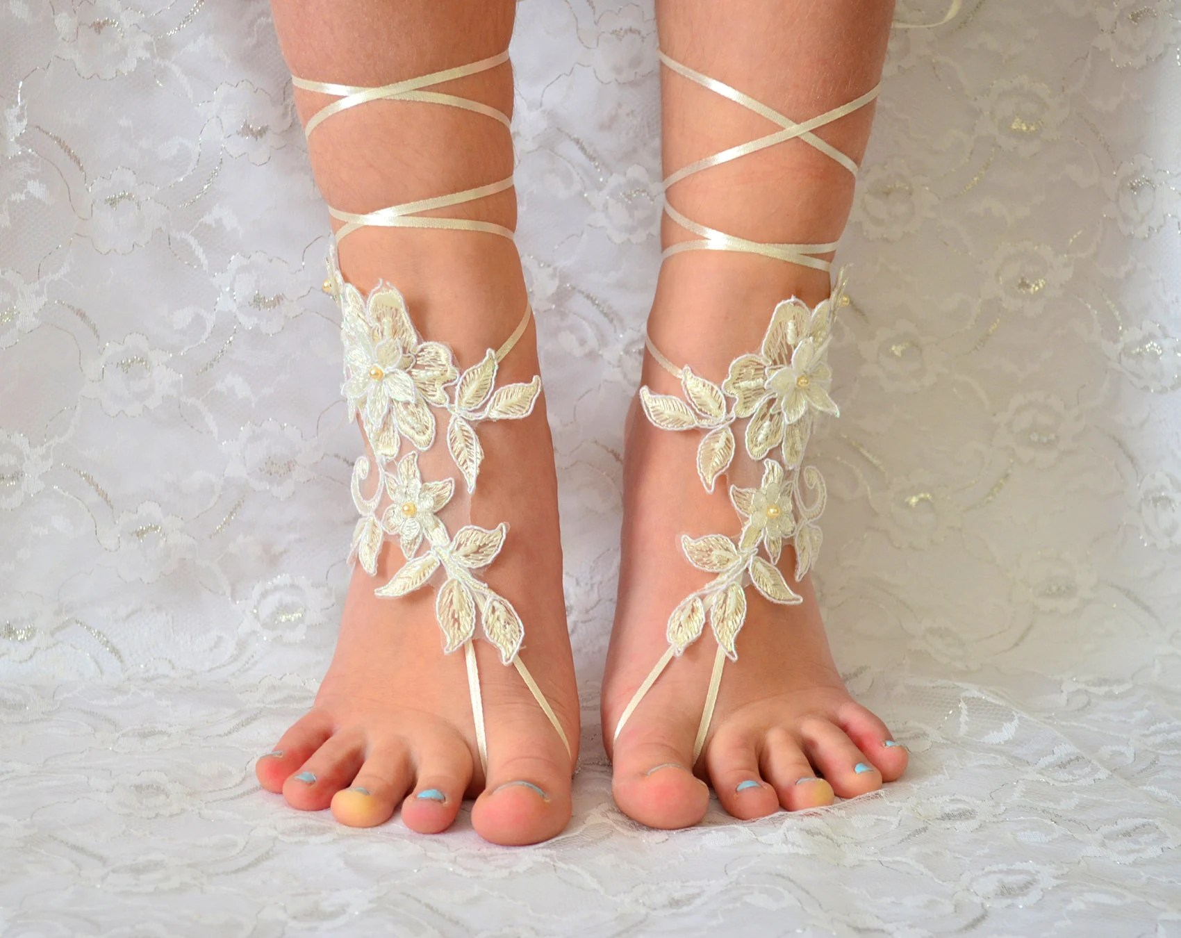 Lace Wedding Shoes Ivory Barefoot Sandles Sandals Beach