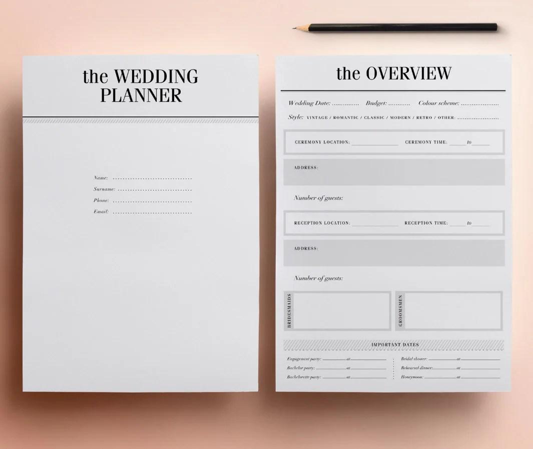 Ultimate Printable Wedding Planner Organizer Half Size