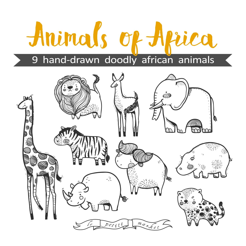 Mano Dibuja Lindo Animales De Africa Grafico Ilustracion Hoja