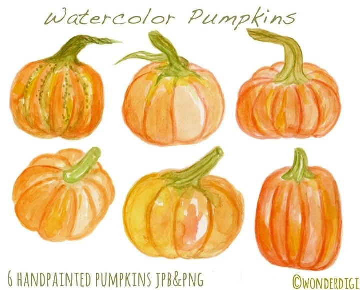 watercolor clipart pumpkins