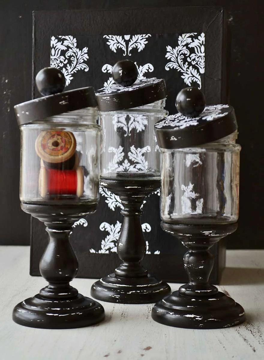 Apothecary jars set pedestal glass damask black and