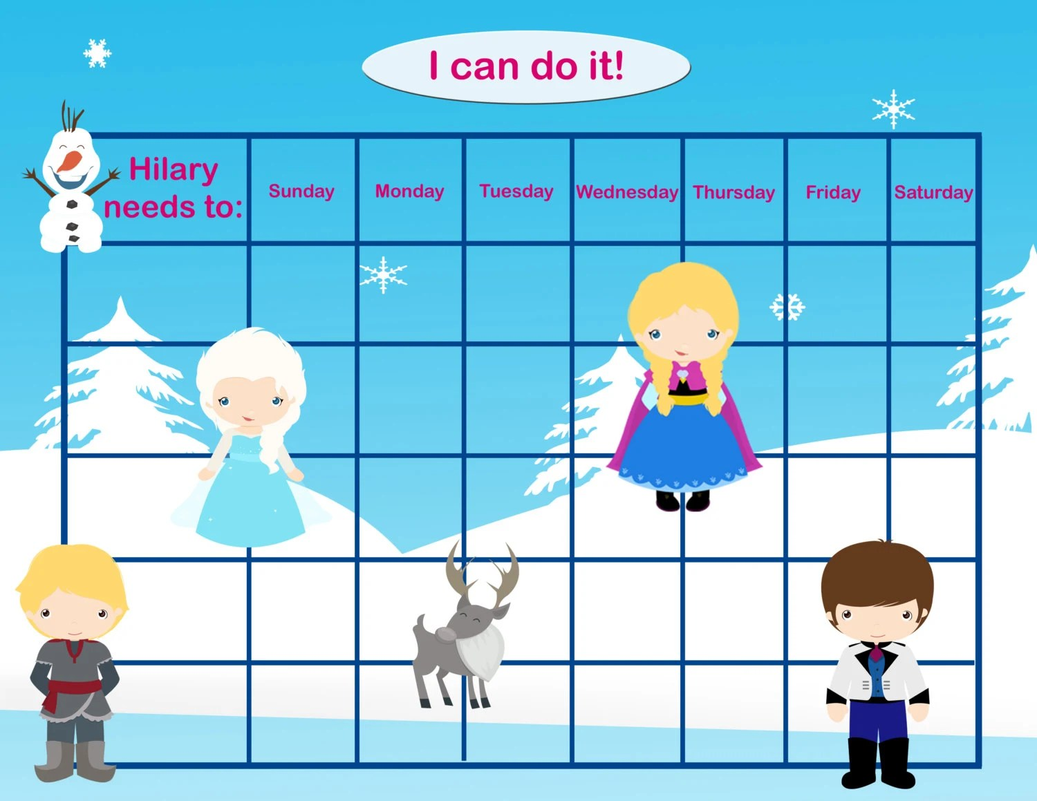 Personalized Children S Incentive Chart Reward Chart Ice