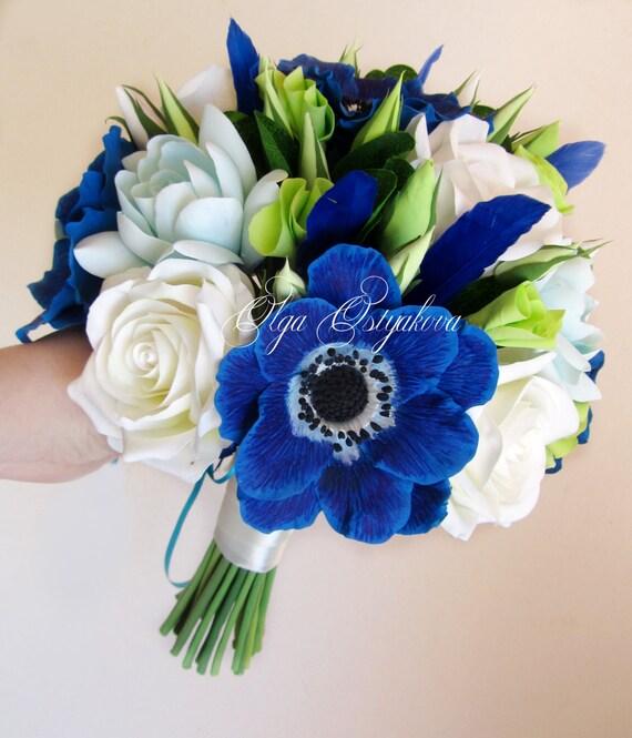 Knigsblau Anemonen Strau blaue Hochzeit Bouquet Brautstrau