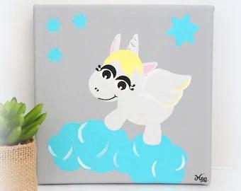 Tableau Licorne, tableau chambre d'enfant, tableau chambre bébé, décoration licorne, décoration chambre bébé fille, licorne dans les nuages
