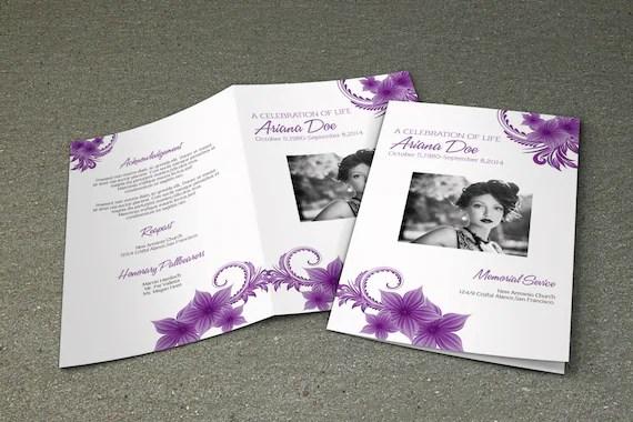 Heavenly Purple Funeral Program Backgrounds