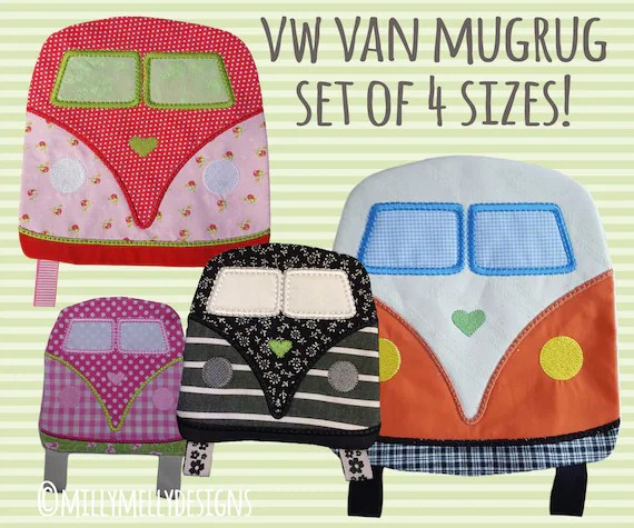 SET of 4 sizes - VW van Mug Rug and coaster - ITH - In The Hoop - Machine Embroidery Design File, digital download