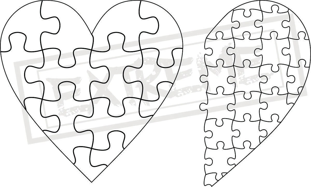 Heart Jigsaw Puzzle Template Collection DXF EPS SVG Zip File