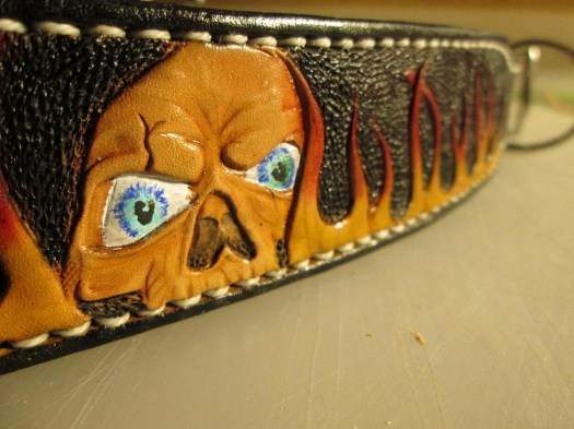Airbrushed leather collar...