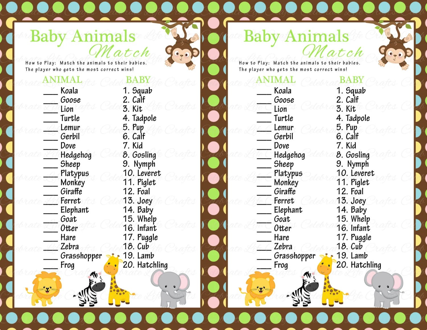 Baby Shower Baby Animals Match Game Diy Printable Match