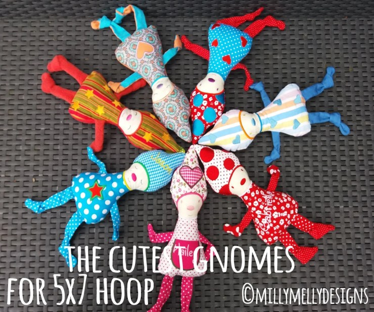 The cutest gnomes - 5x7 hoop - ITH - In The Hoop - Machine Embroidery Design File, digital download