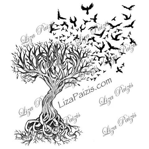 Disegno di Liza Paizis del tatuaggio celtico albero della vita