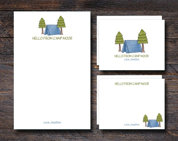 Personalized Camp Stationery for Kids - BLUE