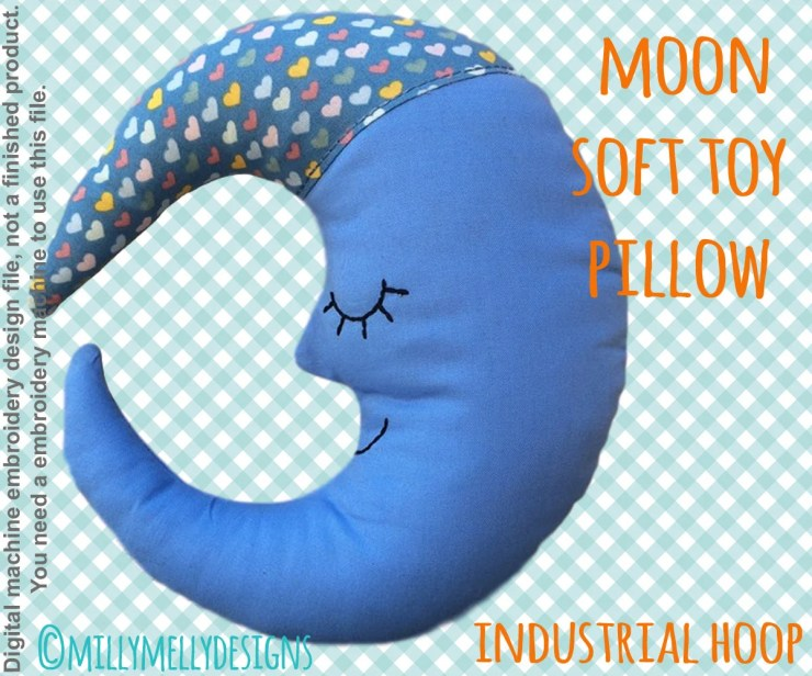Moon pillow/soft toy - For industrial hoop - ITH - In The Hoop - Machine Embroidery Design File, digital download