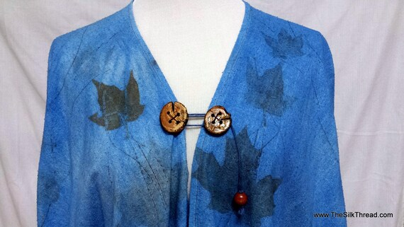BLue Ecoprinted Tunic, Hand Crafted, Wood Buttons, Soft Silk Noil, FIts All Sizes, Natural Designs from Nature Maple & Rose, Free USA ship