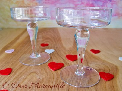 Set of Four Etched Glass Saucer Champage Coupes: Two Tall Stems and Two Shorter