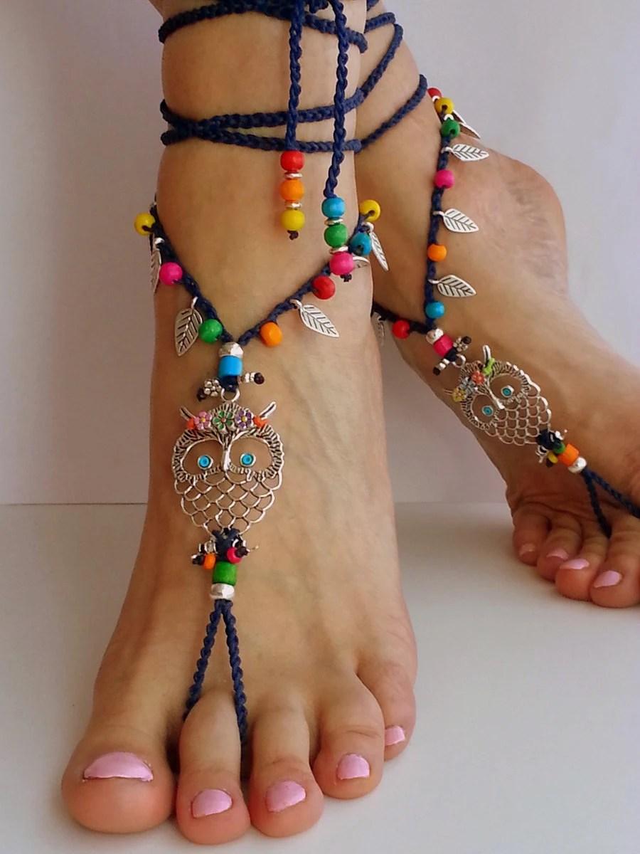 Hippie Owl Barefoot Sandals Boho Anklet