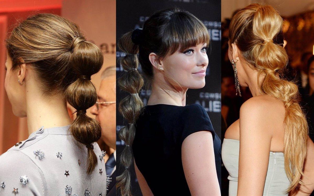 peinados para cabello largo coletas burbuja