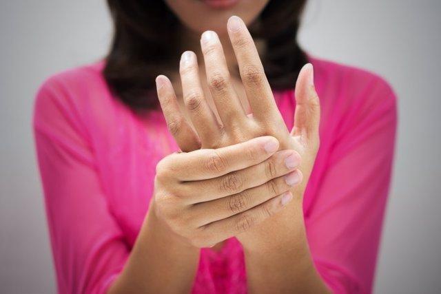 Hormigueo, manos, dolor, mano, palma de la mano