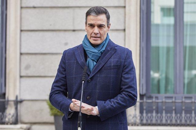 El presidente del Gobierno, Pedro Sánchez, interviene durante el acto institucional por el Día de la Constitución en el Congreso de los Diputados, en Madrid (España), a 6 de diciembre de 2020