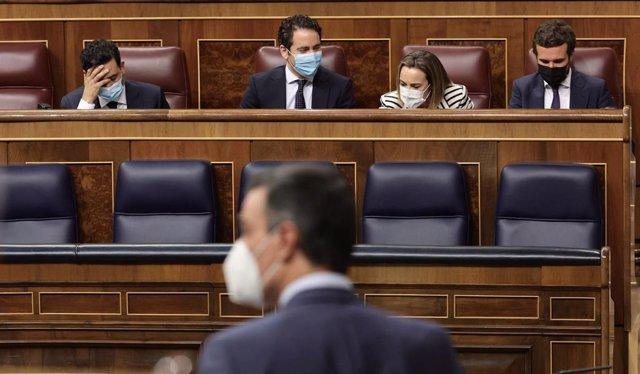 El presidente del Gobierno, Pedro Sánchez, interviene en una sesión de control al Gobierno, a 16 de junio de 2021, en el Congreso de los Diputados, Madrid, (España).