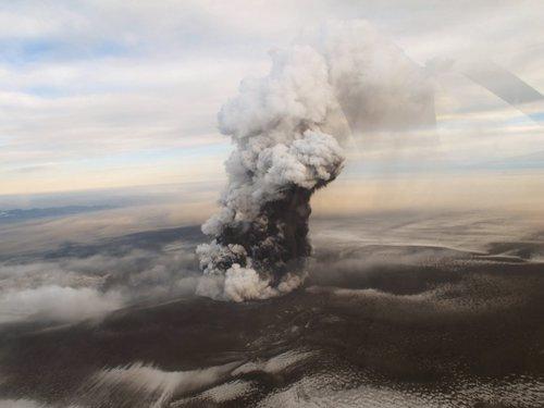 Imagen de la erupción del volcán Grimsvörth en Islandia el 24-05-2011