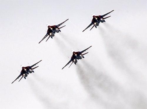 Aviones MiG-29 como los suministrados por Rusia a Siria